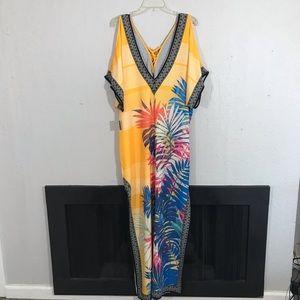Lulus Bright Yellow Palm Print Kimono Style Dress